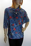 велюрова блуза оверсайз з квітковим принтом