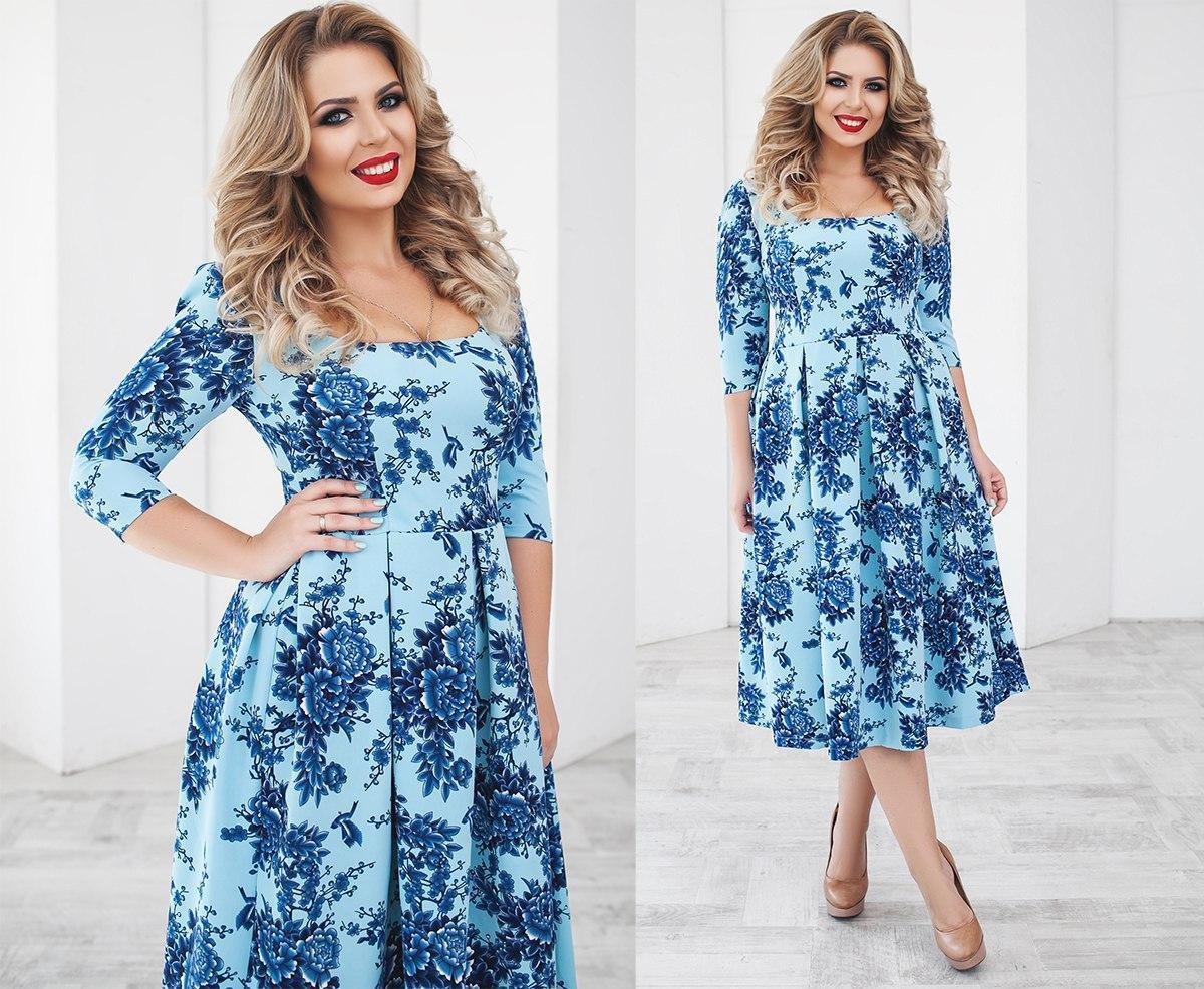 Красивое женское платье костюмный креп размеры: 48,50,52,54