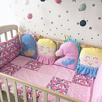 """Комплект в кроватку """"Принцессы и единороги"""""""