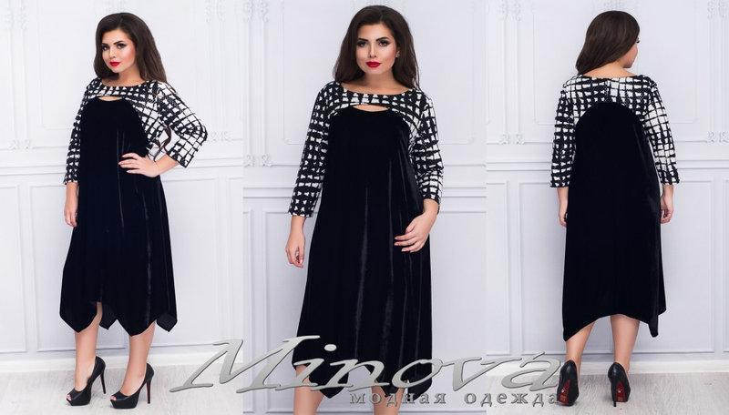 Женское платье бархат низ углами Размеры:52,54,56,58