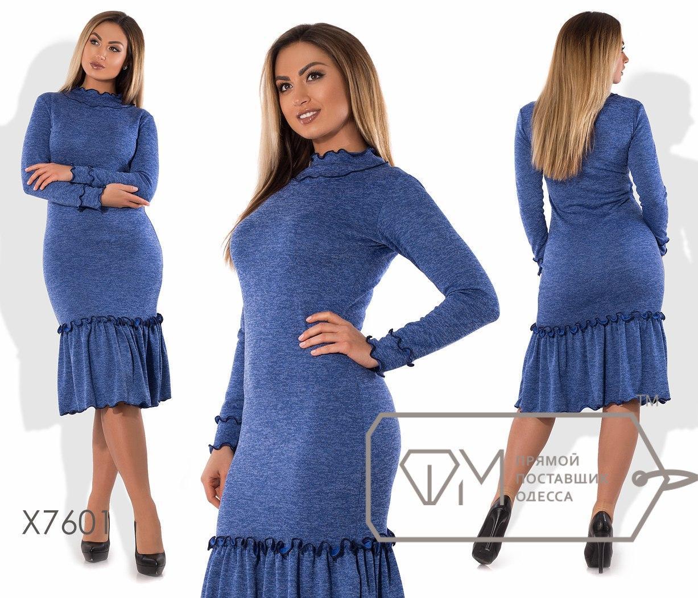 Платье- облегающее из ангоры софт с широкой оборкой по подолу, раз .48,50,52,54