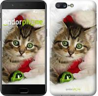 """Чехол на OnePlus 5 Новогодний котёнок в шапке """"494u-969"""""""