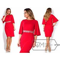 Женское платье со стразами на поясе  батал размер 48-54