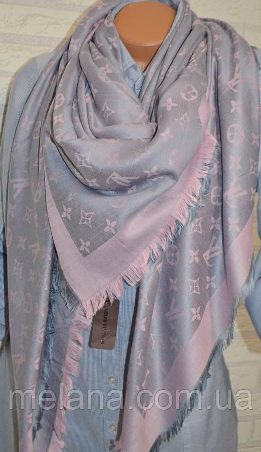 Платок шаль в стиле Louis Vuitton (Луи Витон) серо-розовый, цена 320 ... ce389b43a05