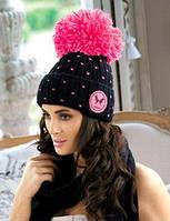 Krappa, шапка женская молодежная с бубоном Kamea, цвет черный с розовым