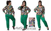 Оригинальный женский спортивный костюм с цветочным принтом большого размера 50-58