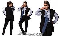 Брючный костюм тройка трикотаж двунить со вставками из джинса, рубашка коттон размер  48-50, 50-52, 52-54