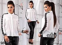 Комбинированная женская рубашка свободного фасона со вставками из кружева