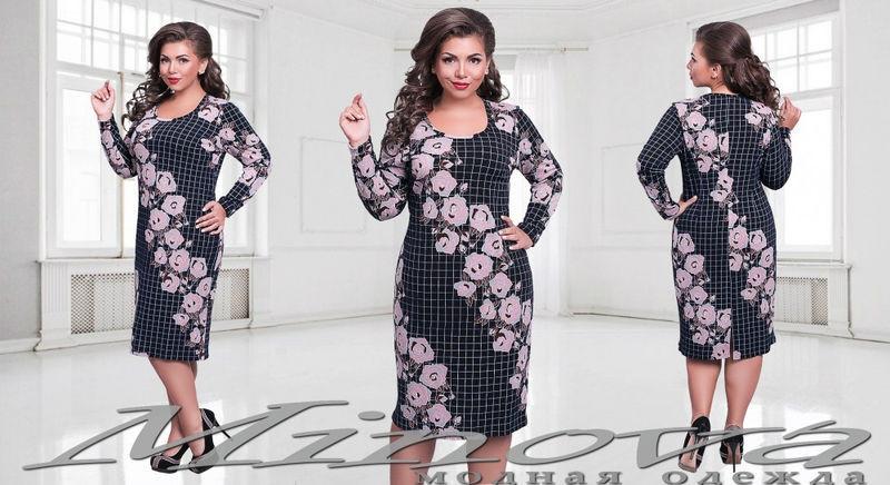 Приталенное платье с розами и длинным рукавом размеры 52-60