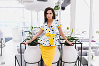 Летний яркий костюм юбка и пиджак коттон с эластаном размеры 42,44,46