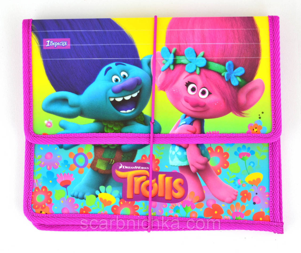 "Папка на резинке ""1 Вересня"" B5 пластик 491306 ""Trolls"""