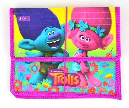 """Папка на резинке """"1 Вересня"""" B5 пластик 491306 """"Trolls"""", фото 2"""