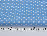 Хлопковая ткань ранфорс с горошком 6 мм на голубом фоне, ширина 240 см (№1117), фото 3