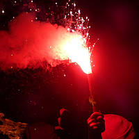 Факел пиротехнический (фальшфейер, фаер) красного огня, 90 секунд
