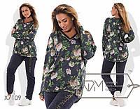 f52b4b41 Женский спортивный костюм кофта с удлиненной спинкой трикотаж брюки - ангора  Размеры: 50, 52