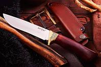 Нож нескладной Шерхан, с деревянной рукояткой и кожаным чехлом, фото 1