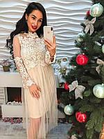 Женское белое шикарное платье с красивыми рукавами из органзы с вышивкой(42-44 р) 22П10647