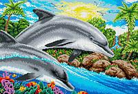 """Схема для вышивки бисером/крестом на габардине """"Дельфины"""""""