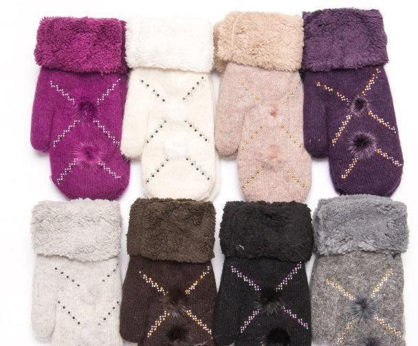 """Варежки женские Шерсть от """"Корона"""" Оптом 12 пар разные цвета"""