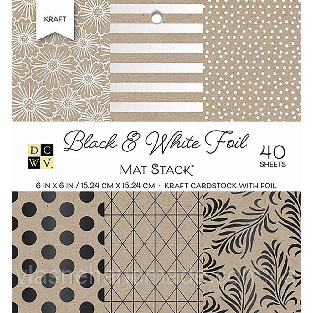 Набір одностороннього паперу - DCWV - Black & White WFoil - 15х15 ЦІНА за 12 листків