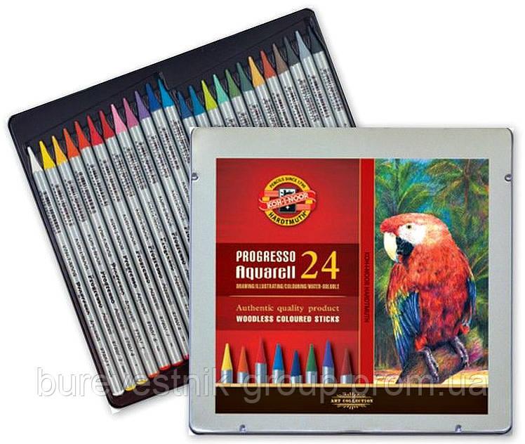 Художественные цветные бездревесные акварельные карандаши  KOH-I-NOOR Progresso 24цв.