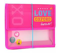 "Папка на резинке ""1 Вересня"" B5 пластик 491116 ""Oxford"" розовый"