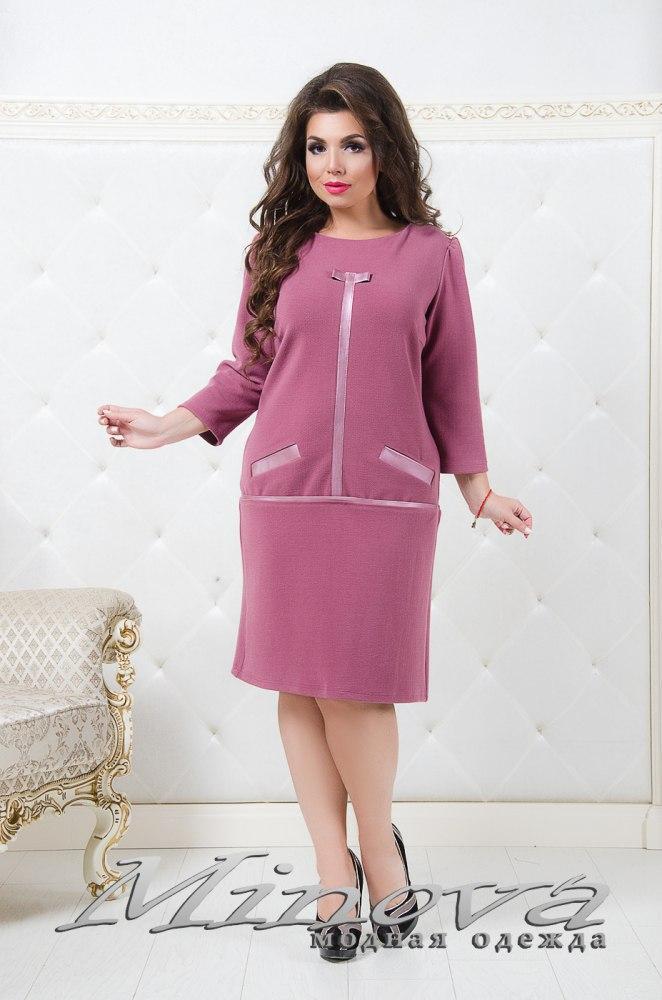 Элегантное платье до колен с декоративными украшениями имитация костюма вязаный трикотаж  Размер  52