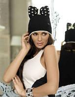 Молодежная женская шапка Berta, ТМ Kamea, Польша, полушерстяная, цвет черный, графит