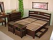 """Белая двуспальная кровать """"Сакура"""". Массив - сосна, ольха, береза, дуб., фото 3"""
