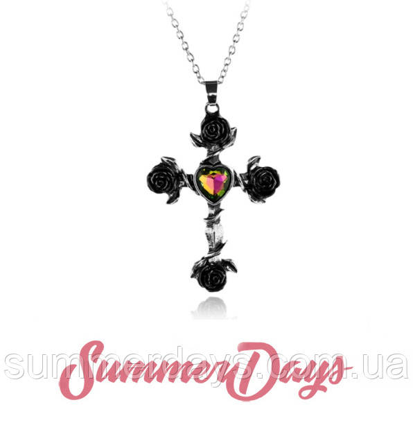 Кулон готический крест с розами и мистическим камнем