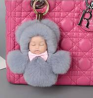 Меховой брелок на сумку. Куколка. 13 см. Серый