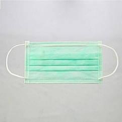 Маски трехслойные на резинках 50 шт зеленый