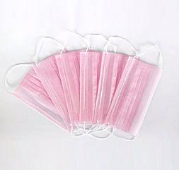Маски трехслойные на резинках 50 шт розовый