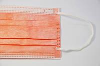 Маски трехслойные на резинках 50 шт оранжевый