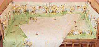 Набор постельного белья в детскую кроватку из 6 предметов Пчелки зеленый
