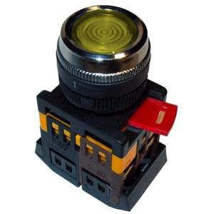 Кнопка ABLFS-22 желтый d22мм неон/240В 1з+1р ИЭК