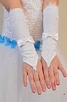 Детские шикарные белые перчатки под бальное вечернее платье для утренника.