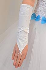 Детские шикарные белые перчатки под бальное вечернее платье для утренника., фото 2
