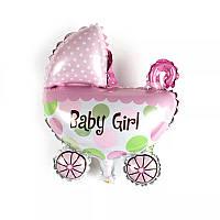 Фольгированный шарик коляска розовая 100 см