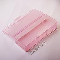 Пенал пластиковый розовый 19*7 см (широкий)