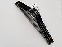 Плечики вешалки деревянные черного цвета с антискользящей перекладиной, длина 44 см, в упаковке 3 штуки