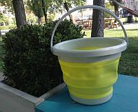 Ведро складное желтое, квадратное 5 литров.