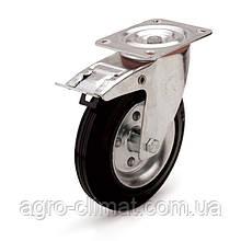 """Колеса поворотні з гальмом і майданчиком 200х60 - 20 мм """"Ekonom"""""""