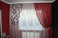 Готовые шторы с резным декором ( красно-черные)