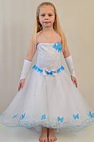 Детское нарядное выпускное платье с гипюровым верхом на 10-11 лет.