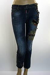 Жіночі джинси DSQUARED 2 з стразами,латками,принтом