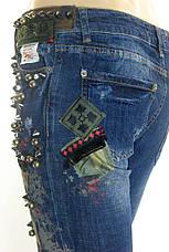 Жіночі джинси DSQUARED 2 з стразами,латками,принтом, фото 2