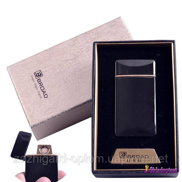 USB зажигалка в подарочной упаковке 4851-Black (Broad, двухсторонняя спираль накаливания)