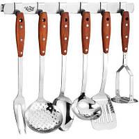 Набор кухонных принадлежностей 6пр с металлической планкой с крючками Krauff 29-44-266