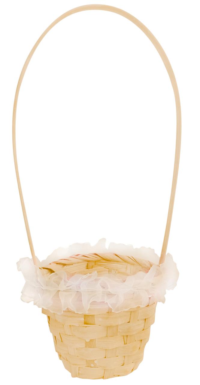 Корзина из лозы 32 х 13 см персиковая